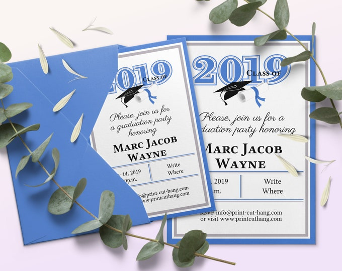 Blue and White Graduation Party Invitation Templates Class of 2020 Editable Online
