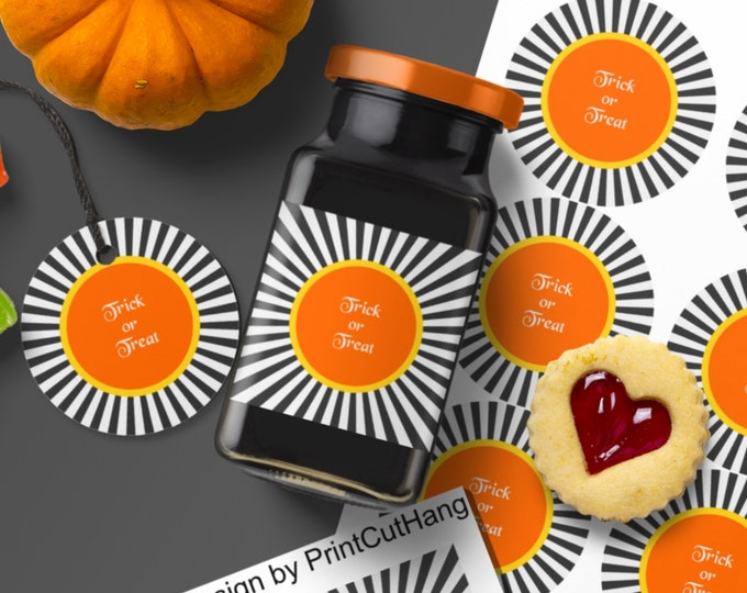 Halloween Round Tags Labels Templates Edit Text and Colors Yourself