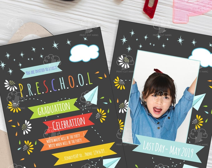 Preschool Invitation - Editable Preschool Graduation Invites Template - Photo Invitation