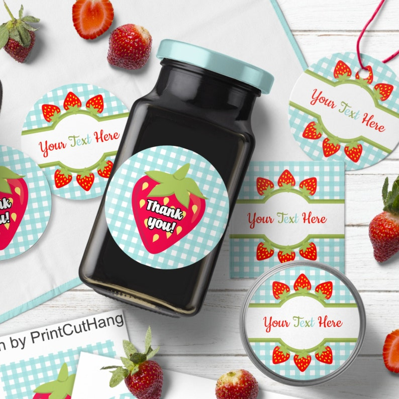 Custom Pantry Labels Templates Set with Strawberry n Gingham image 0