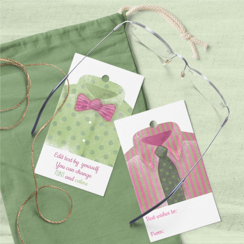 Watercolor Favor Tags for Him Editable Templates with image 0