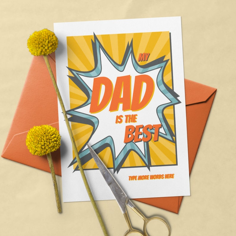 DIY Printable Card for Dads in Cartoon Style Fully Editable image 0