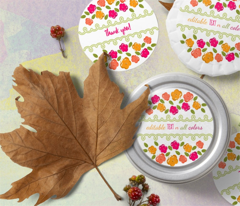 Round Custom Floral Labels Template Editable All Colors and image 0