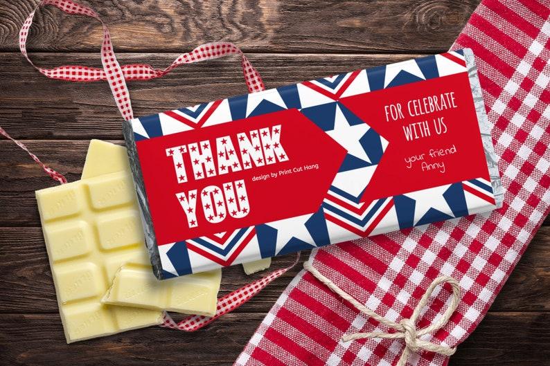 Printable Thank You Candy Bar Wrap Patriotic Holiday Editable image 0