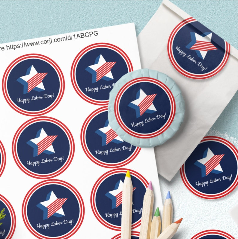 Labor Day Round Labels Editable Template Free Ready to Print image 0