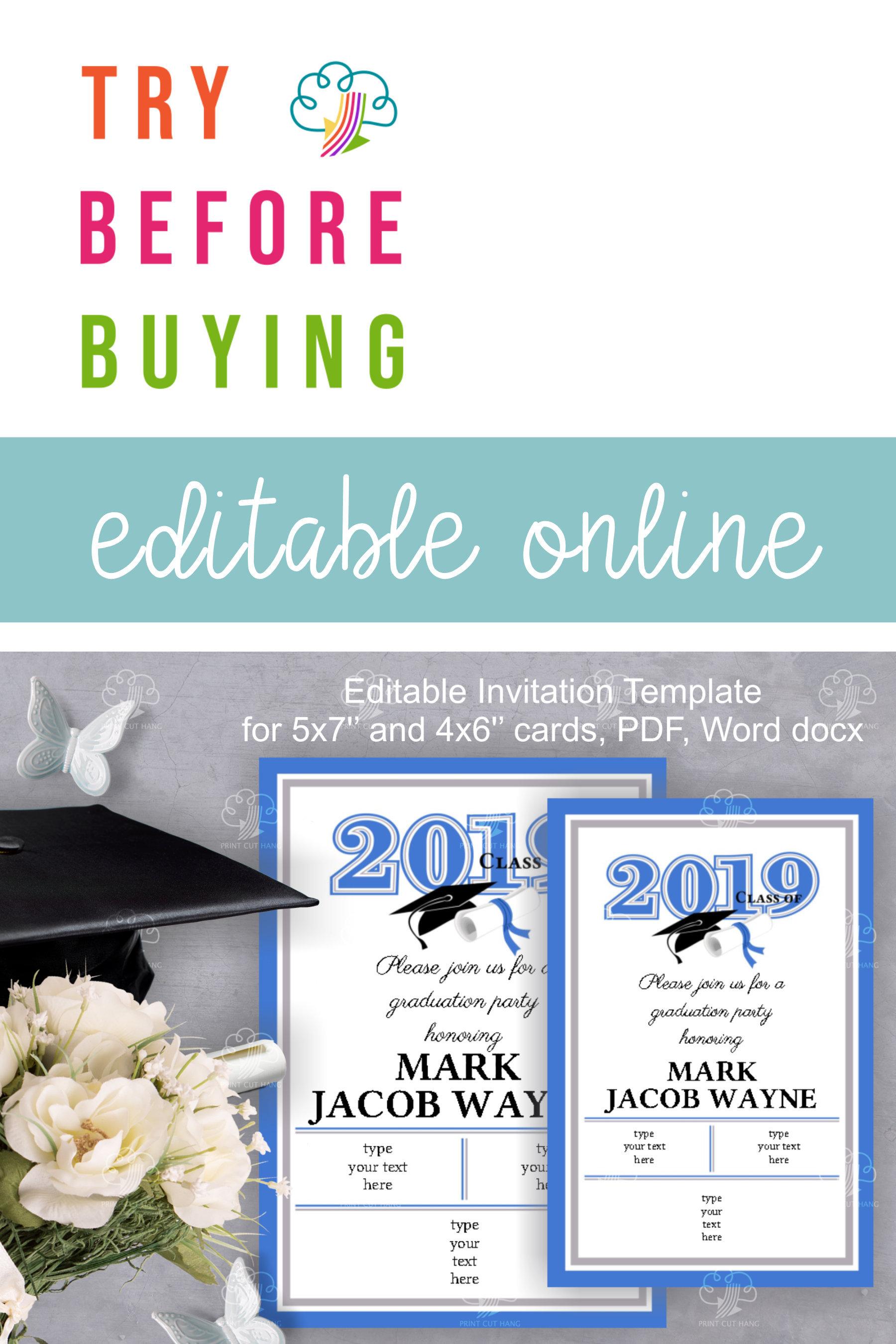 Blue 2019 Graduation Invitation Template