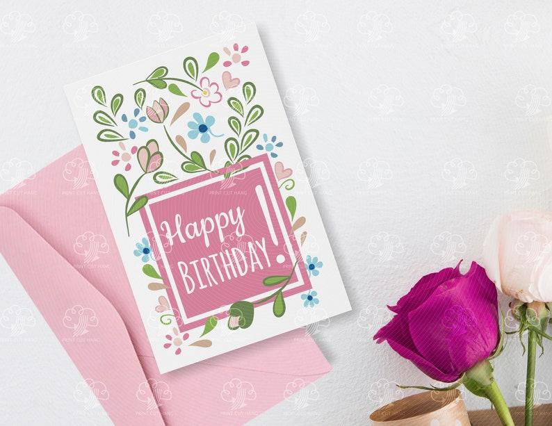 White Floral Editable Card Girl Birthday Edit Text