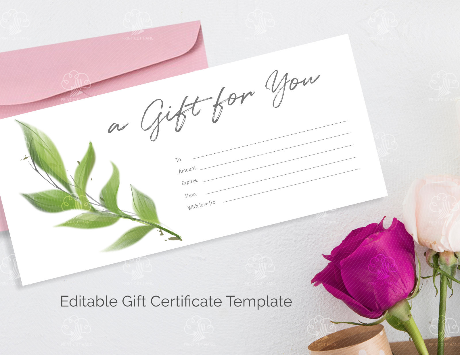 fe2857fba1e59 Editable Greenery Gift Card Certificate - Watercolor Green Leaves ...