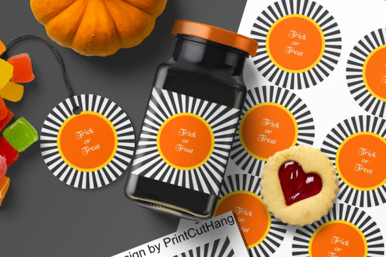 Round Halloween Labels Templates Editable Text and Colors image 0