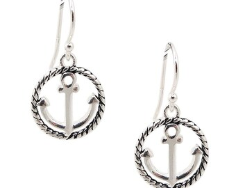 4ec796cc9 925 Solid Sterling Silver Dangling Anchor Hoop Earrings - Nautical Dangle  Circle Ocean Ship Boat Jewelry
