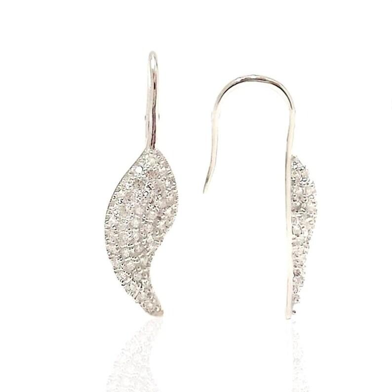 CZ Dangle Hypoallergenic Jewelry 925 Solid Sterling Silver Dangling Cubic Zirconia Feather Earrings