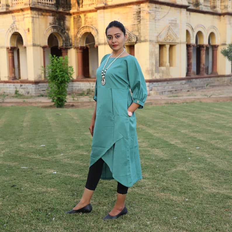 Loose Fitted Kurti Dress Comfortable Whole Day Casual cum Formal Asymmetric Stylish Dress Linen Midi Dress for Women