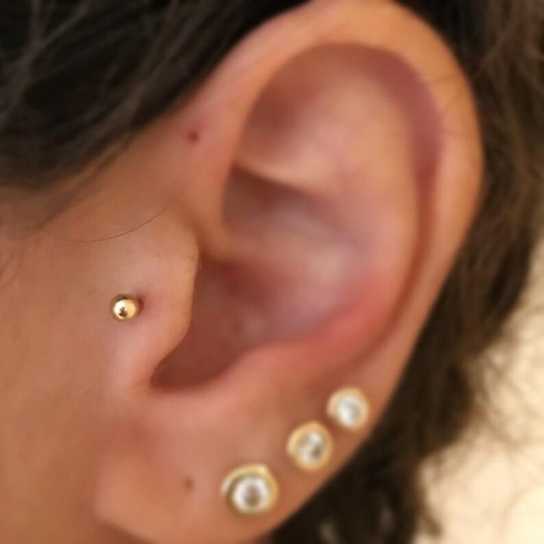 Helix 14k solid gold Labret- Reverse screw Tragus Ear Piercings Septum