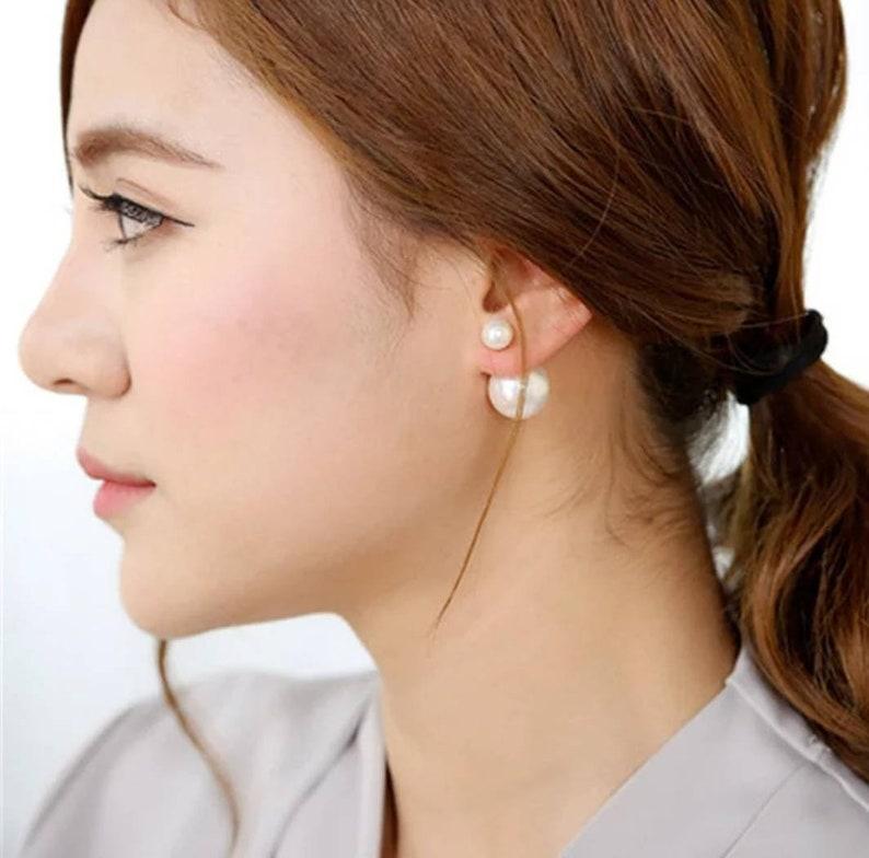 Silver Pearl Double Sided Earrings