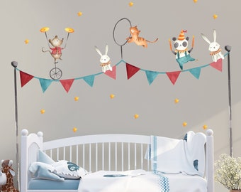 Kids Wall Decal Circus Wall Sticker Safari Animal Peel N Stick Rabbit Tiger Decals  Nursery Wall Decor Babyroom Childroom Bedroom