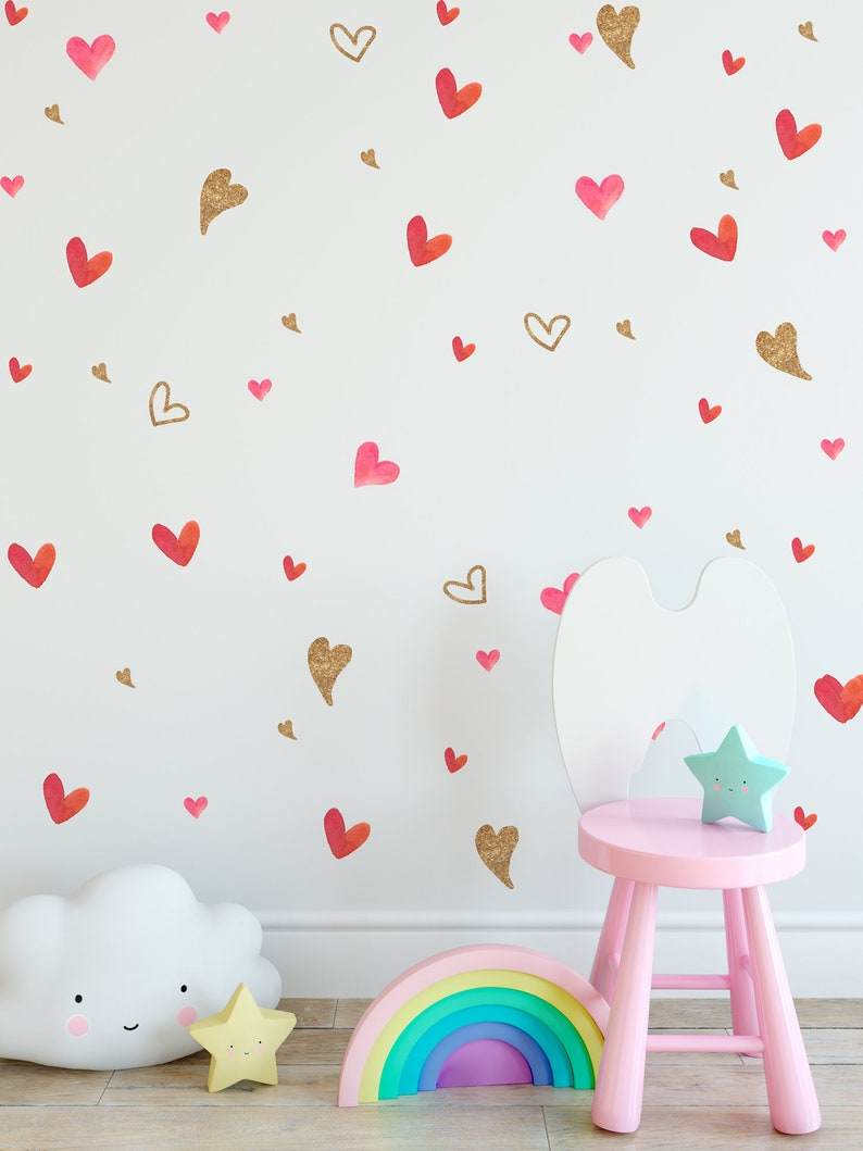 Watercolor Heart Wall Decal Gold Heart Wall Sticker Heart Pattern Removable Peel n Stick for Nursery Kids Room Childroom Girls Bedroom