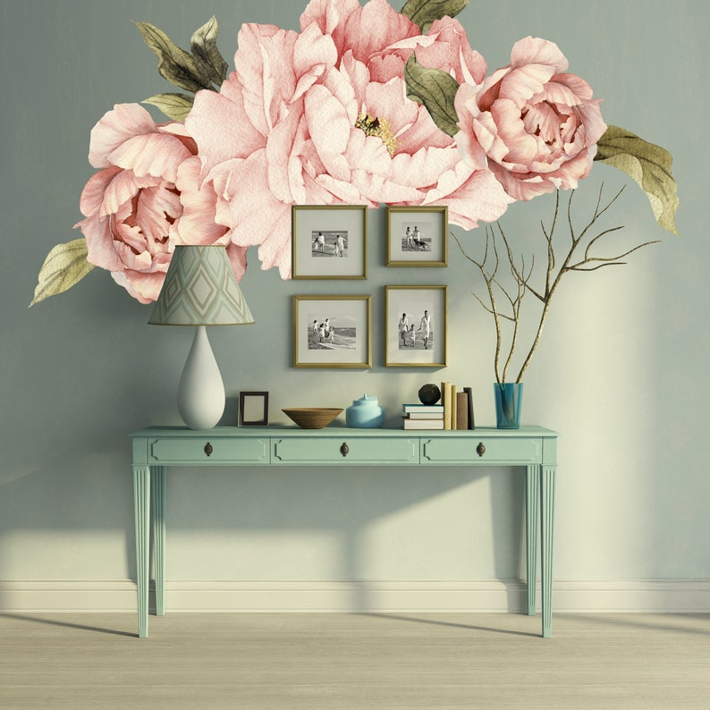 Pink Peonies Wall Decals, Floral Wall Decal, Bedroom Decor, Peel and Stick  Flowers Sticker