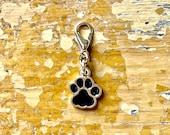 Black and Gold Paw Print Charm, Dog Pawprint Zipper Pull, Cat Paw, Progress Keeper, Stitch Marker Animal Print, Knit Notion
