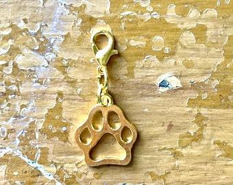 Gold Paw Print Charm, Zipper Pull Dog Print, Progress Keeper Cat and Doggy Pawprint, Yarn Jewelry, Kitty Paws Knitter Crocheter