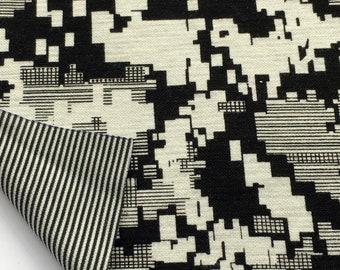 89c1d1c9c8f Jersey reversible geometric pattern and stripe polyester viscose spandex  1.54 m wide #JE37