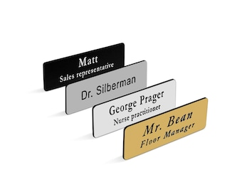 """Custom Engraved Name Tag Badge for Business with Pin or Magnet Backing- Personalized Employee Name Tags  sizes 1""""x3"""" & 1.5""""x3"""""""