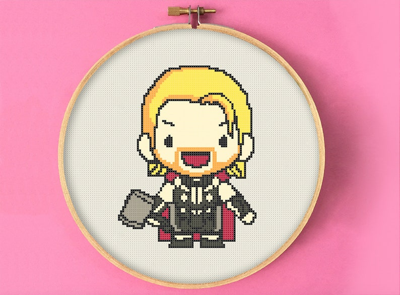 Chibi Thor Cross Stitch Pattern, The Avengers Marvel Embroidery, Comic Geek  Present, Superhero Counted Cross Stitch Chart, Cute Character