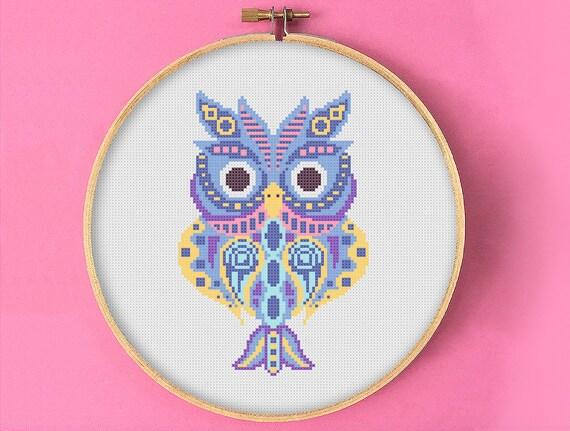 Owl Cute Bird Animal Design Home Decor Gift PDF Cross Stitch Pattern Instant Download