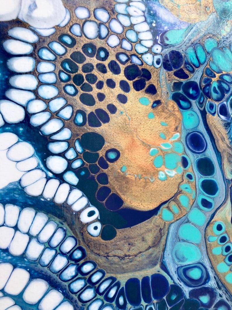 Acrylic Pour Fluid Art 10 x 20 Pull of the Tides Coastal Ocean Original Artwork by Poured Soul Art Psychedelic Art Paint Pouring