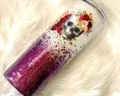 floral skull glitter tumbler, white and burgundy ombre glitter, stainless steel mug, halloween cup, skinny tumbler, sparkle travel mug,