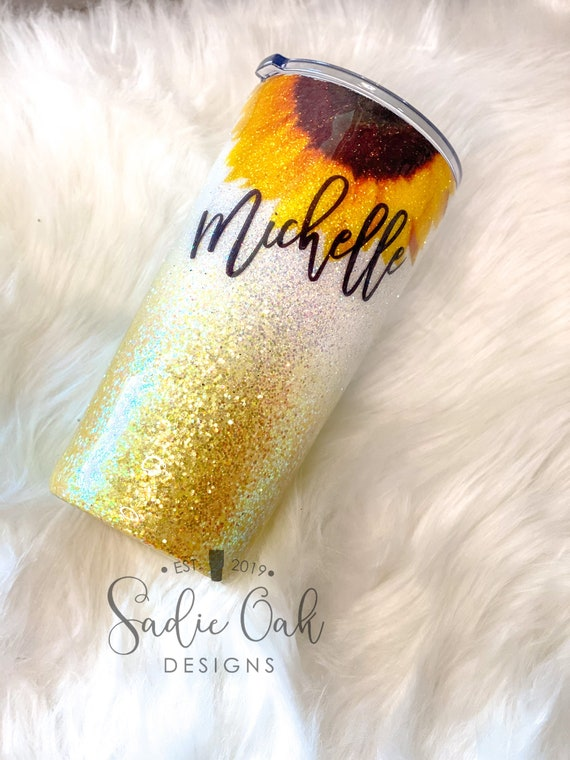 Custom Name Tumbler 22oz Ombre Tumbler Insulated Personalized with Name Travel Cup Rose Gold and Brown Ombre Glitter Tumbler Mom Gift