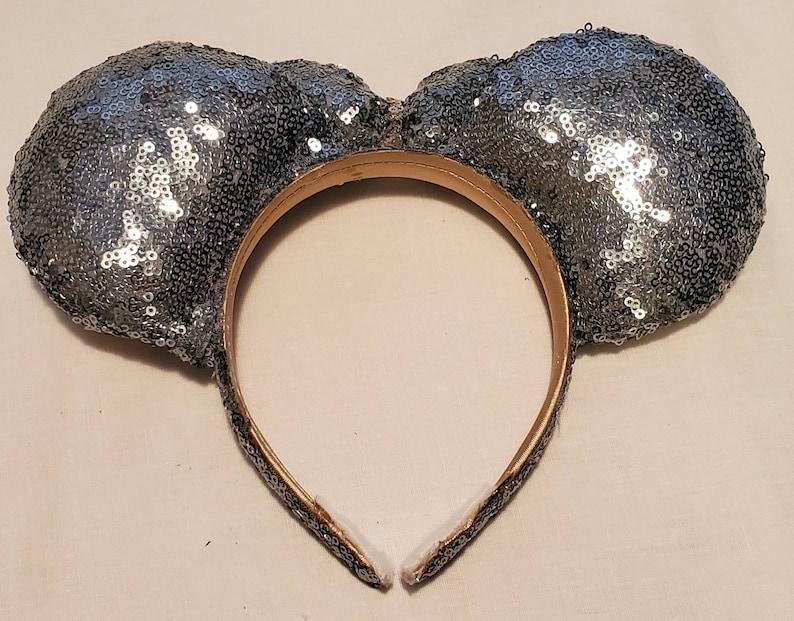 Silver sequin minnie ears mickey ears disney ears headband