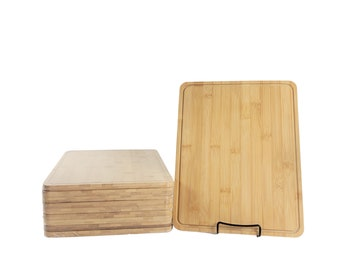 10pc Thick Sturdy Bulk Plain Bamboo Cutting Boards with Juice Groove   For Customized Engraving Gifts   Wholesale Premium Blank Board
