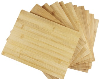 """12pc Bulk 12X9"""" Rectangular Plain Bamboo Cutting Boards   For Customized Engraving Gifts   Wholesale Premium Blank Board ( Without Handle )"""