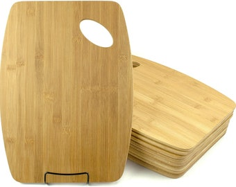 12pc Bulk Round Edge Plain Bamboo Cutting Board   For Customized Engraving Gifts   Wholesale Premium Bamboo Board