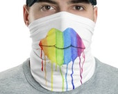 Rainbow Lips Face Mask Neck Gaiter Washable Protective Pull-up Scarf, Bandana or Headband watercolor paint drips USA Dust Mask with mouth