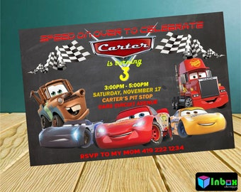 Cars Birthday Party InvitationCars InvitationsCars PrintableCars Digitalize1