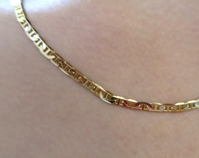 """14K Gold Plated Mariner Chain, 4.5MM Mariner Link Chain, man men's women's Necklace, 20"""", 24"""", 30"""""""