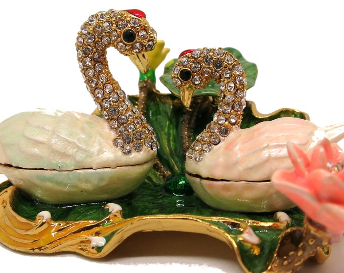 """Bejeweled """" Swan Love Couple on Lotus Leaf """" Hinged Metal Enameled Rhinestone Trinket Box"""
