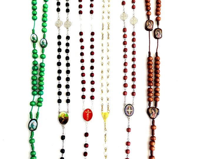 12x mixed Rosaries St Jude, Guadalupe, Virgin Mary, St. Benedict, Passion of Jesus, Baptism Religious Party Favors gift, Bulk lot