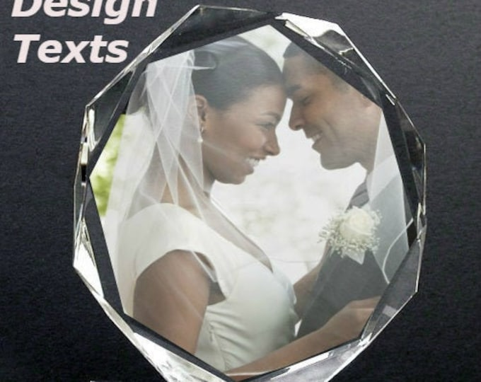 """6"""" x 6 """" Custom Picture Crystal   Large Octagon w stand   Personalized Photo Crystal Gift   D12"""