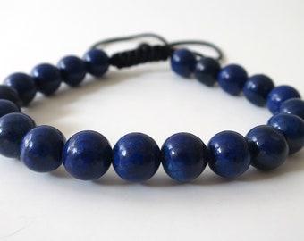 Blue Bracelet Stretch Bracelet Lapis Lazuli Tassel Bracelet Elastic Boho Leather Tassel Bracelet Wisdom Bracelet Black Leather Tassel