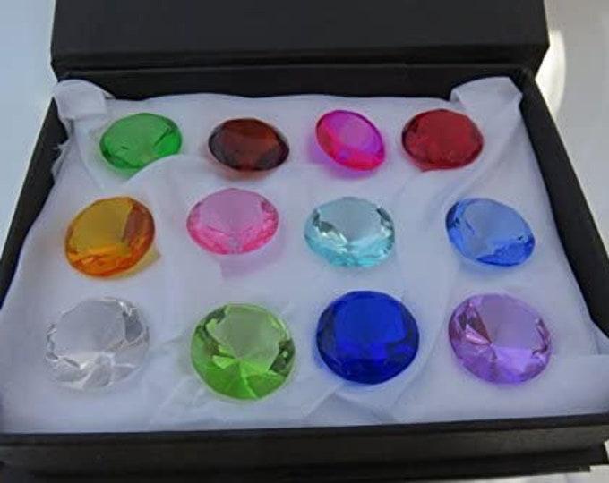20mm Glass Diamond Jewel Art Glass Paperweight Box Set 12pcs
