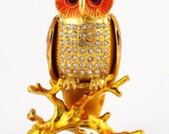"Bejeweled "" Owl Sitting on the Branch "" Hinged Metal Enameled Rhinestone Trinket Box"