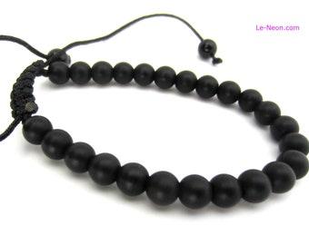 Black Onyx Matt Bracelet | Onyx Matt Finish Gemstone Beads, Adjustable Knot | for Man, Men's Beaded Bracelet, 6mm-8mm
