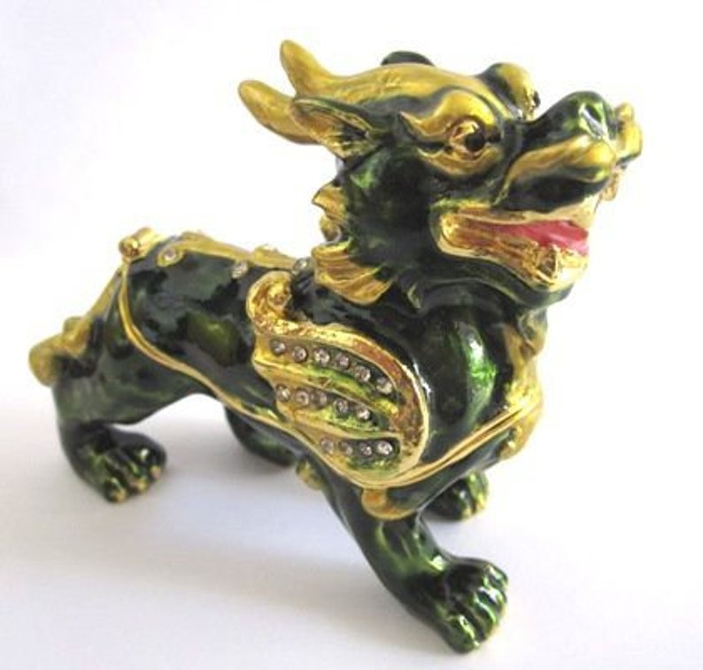 Bejeweled Lucky Beast  Hinged Metal Enameled Rhinestone Trinket Box