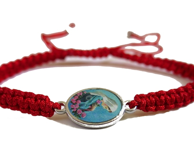 Virgin Mary Cord Bracelet, Tiny Red Cord Saints Bracelet, Virgin Mary Catholic Bracelet, Adjustable Cord, Unisex