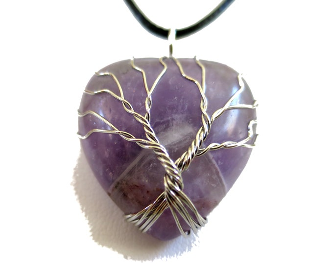 Amethyst  Pendant Necklace , Gemstone wired Pendant Heart Shaped