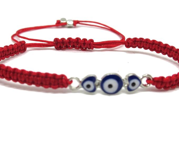 Evil Eye Heart Charm Bracelet,  Evil eye Cord Bracelet, Red Cord String Bracelet Lucky Charm Protection, for kid or teens