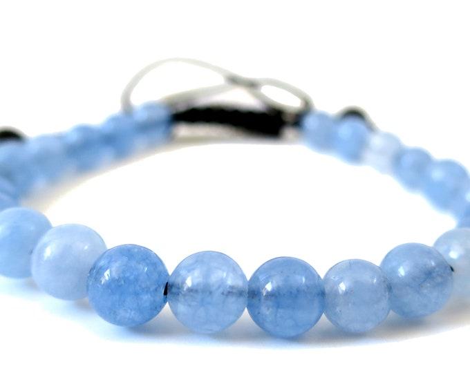 Blue Aquamarine Power Bracelet w Knot | Gemstone Beads Adjustable Knot Bracelet | for Man, Woman, Women's Beaded Bracelet, 6mm-8mm