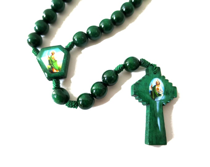 """St. Jude Wooden Rosary Necklace, Wood Beads Charms Cross Knotted Rope , 16.5"""""""